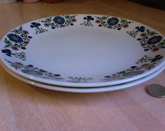 2 Midwinter Round Dinner Plates - Country Garden design by Jessie Tait
