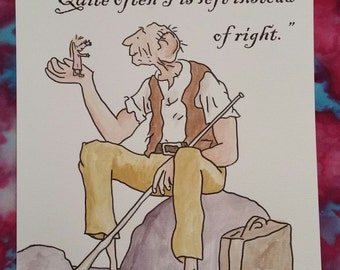 A4 The BFG Quote and Watercolour Painting Roald Dahl Quentin Blake Hand Painted Sophie Hand