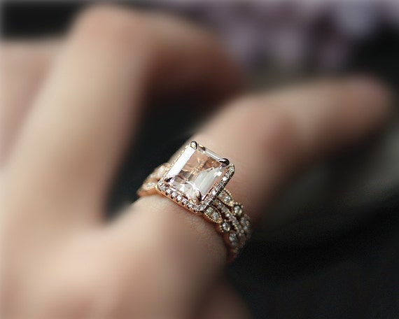 3 Rings! Handmade Engagement Ring Set, 7x9mm Emerald Cut Natural VS Pink Morganite Ring Set