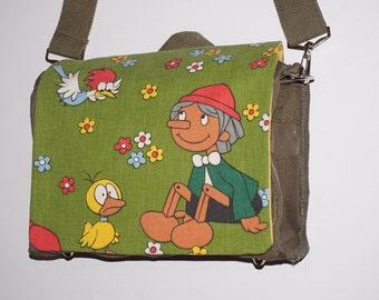 Messenger canvas shoulder bag shoulder bag shoulder bag diaper bags nursery bag Pinocchio fabric fabric vintage 70 s
