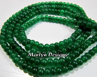 Beautiful Dyed Smooth Emerald Beads , 4-5mm Size Rondelle Shape Plain Emerald Beads , Length 8 inches , Precious Stone Beads, Jewelry Beads