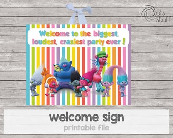 Trolls party printable welcome sign