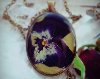 Real flowers Botanical Flower chain necklace nostalgia bouquet Pansy