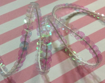 5yds 6mm Clear AB Iridescent Cupped Sequin Trim Transparent Iridescent Sequin Trim Sequin String Sequins Trim for Craft Supply Sewing