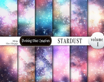 Stardust Digital Scrapbook Paper, Shimmer, Glow, Stars, Bright, Universe, Commercial Use, Glitter, Colorful, Fantasy, Clouds, Purple, Pink