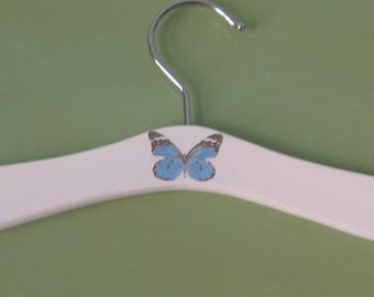 Baby hanger with blue butterfly motif