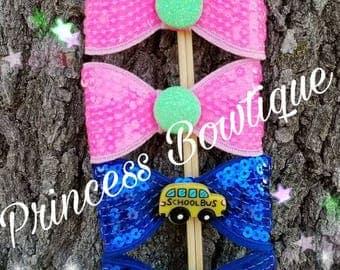 School bows,  back to school bows, school clips, school barrets, hair clips