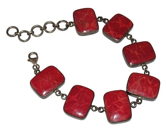 Abalone Shell and Red Coral Sterling Bracelet