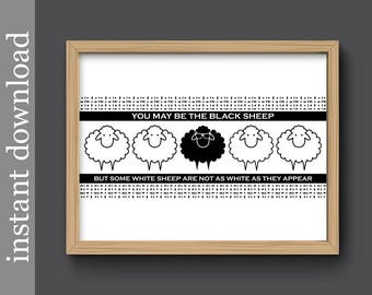Funny Friend Gift, Black Sheep, printable wall art, Mothers Day gift, funny sister gift, funny family gift, family black sheep, humor art
