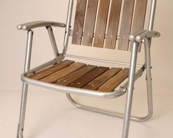 vintage aluminum folding lawn chair redwood patio metal red wood pool porch 60s mid century modern outdoor wooden double arm seating metal - Folding Lawn Chairs On Sale