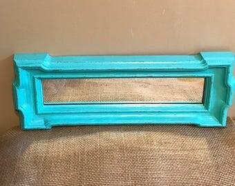 Vintage Aqua Mirror; Aqua Mirror; Painted and Distressed Aqua Mirror; Shabby Chic Mirror