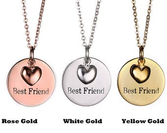 """Sephla Gold Plated S925 Sterling Silver """"Best Friend""""Engraved Pendant Necklace,Heart Necklace"""