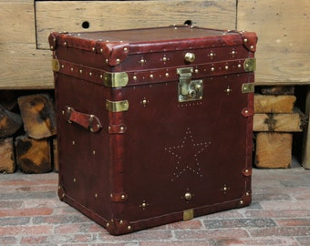 Handmade English Single Leather Campaign Chest Trunk