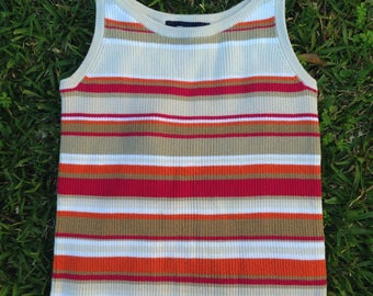 90's ribbed striped tank red orange SMALL