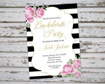 Bachelorette Invitation, Floral Bachelorette Party Invitation, Roses Bachelorette Invite, Hen Party Invitation, Hens Do Invitation DIY