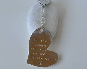Keychain engraved heart change