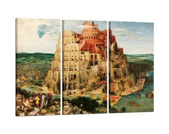 Painting on canvas with Tris Frame Pieter Bruegel the Elder The Tower of Babel