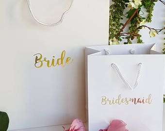 White Gloss Bridal Party Gift Bags - 2 sizes available