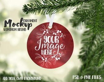 Round Aluminum Christmas Ornament mockup template | Add your own image and background
