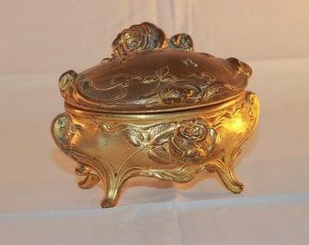 Antique Victorian Ormolu Gilt Metal Box