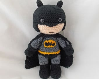 Crochet Batman, Amigurumi Batman, MADE TO ORDER, Crochet Dark Knight doll, crochet batman soft toy, Batman plushie
