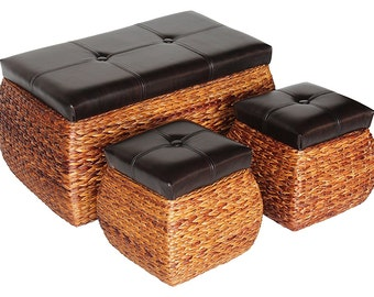 Upholstered Woven PU Leather Ottoman /Storage/ Bench /Top Lift  Set of three