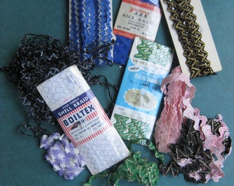Vintage Rick Rack Trim Cotton Metallic 25 Yards 5 Never Opened - Loose Pieces Blue Pink Green Black Purple