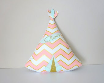Cushion tipi custom name fabrics feathers at the Golden Green Pink choice of water