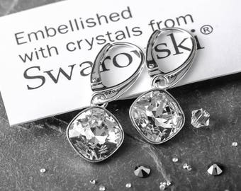 Sterling Silver Leverback Dangle Earrings Clear Square Genuine Crystals from Swarovski®