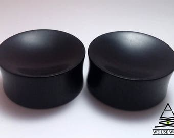 Ebony Plugs Organic Concave Handmade Wooden Ear Plugs Gauges PAIR 5 mm-75 mm 4 g-3""