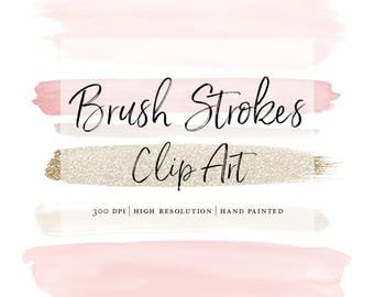High Resolution Watercolor Brush Strokes Clip Art  Watercolor Shapes Beautiful Hand Drawn Paint Stroke Chic Blush Pink Dusty Rose Gold