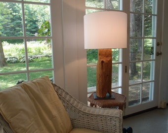 Table Lamp from Red Pine Fence Post c. 1850's