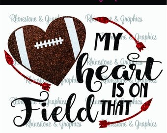 My Heart is on That Field Football Heart Pattern Instant Download SVG EPS DXF Cutting file