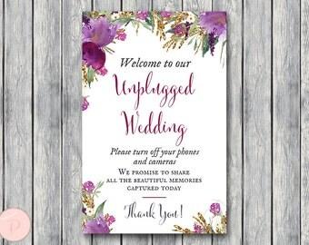 Purple Unplugged Wedding Sign, Unplugged Ceremony Sign, Printable Wedding Sign, Printable sign, Wedding decoration sign  TH59