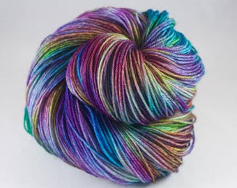 Hand Dyed Sock Yarn, hand dyed wool, variegated sock yarn, nylon sock yarn, pink, purple, green, blue, yellow, rainbow