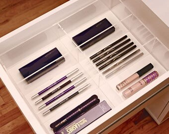 Acrylic Makeup Organizer FITS Ikea Alex 6 compartments, Eyeliner Organizer  for Drawer Dividers Mascara,