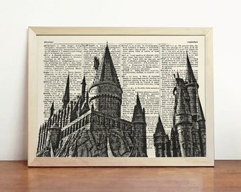 Hogwarts Castle Harry Potter Poster Black White Print Magic Horizontal Wall Hanging Minimalist Upcycled Decor Book Dictionary Gift Birthday