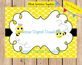 Bumble Bee Digital Blank Invitation template . Digital File.  5 x 7 inches. JPG.  For use in your own publishing program. Instant Download.