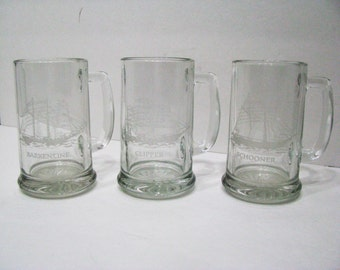 Hand Cut and embossed glass mugs.  Schooner, Clipper, and Barkentine ships with descriptions. Very Unique Collection