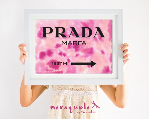 PRADA Marfa WATERCOLOR dark PINK,orange and violet.Apartment Gossip Girl Lily van der Woodsen WallArt Poster,Decor Sign ny Fashion girl