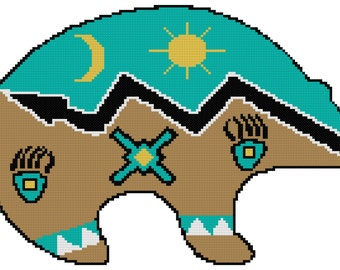 Endless Inspirations Original Counted Cross Stitch Pattern, Native American Bear Spirit, Instant Download, PDF Pattern