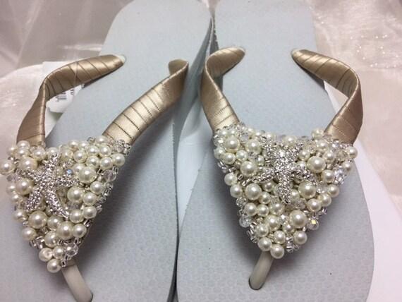 Starfish Bridal Wedge Flip Flops Taupe Wedding