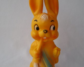Vintage Toy Bunny, Vintage Plastic Toy Orange Bunny, Old Toy, Rabbit, Kids Toy, Collectibles, made in UK, England