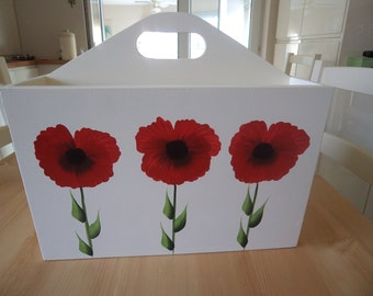 Hand Crafted and Hand Painted Red Poppy Mdf Magazine Rack