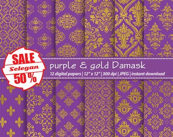 "purple scrapbook paper ""Purple & Gold Damask"" digital 12x12 royal Printable pattern european texture gold background download"