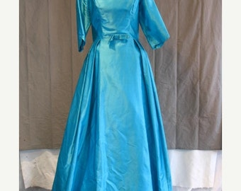 On Sale Vintage 1960's Turquoise Evening Gown Floor Length 3/4 Sleeve