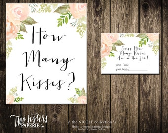 How Many Kisses Game - NICOLE Collection - Guess How Many Kisses - Floral Bridal Shower Game - Bridal Shower Activity- Instant Download