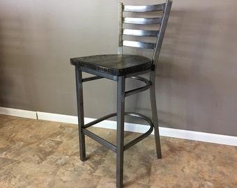 Reclaimed Bar Stool | In Gun Metal Gray Metal Finish | Ladder Back Metal | Restaurant Grade -30 Inch High Barstool