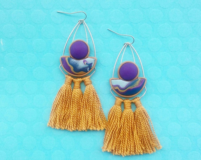 LASH DROP earrings// Statement marbled polymer clay gold fringe drop studs// Purple, aqua, navy and mustard marble earrings// #SE1026A
