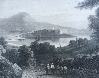 1870 LINLITHGOW PALACE original antique print, Scotland History, 10 x 12 inches, Available Framed